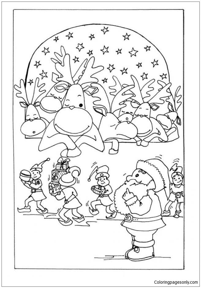 Reindeers Are Sleeping Coloring Page