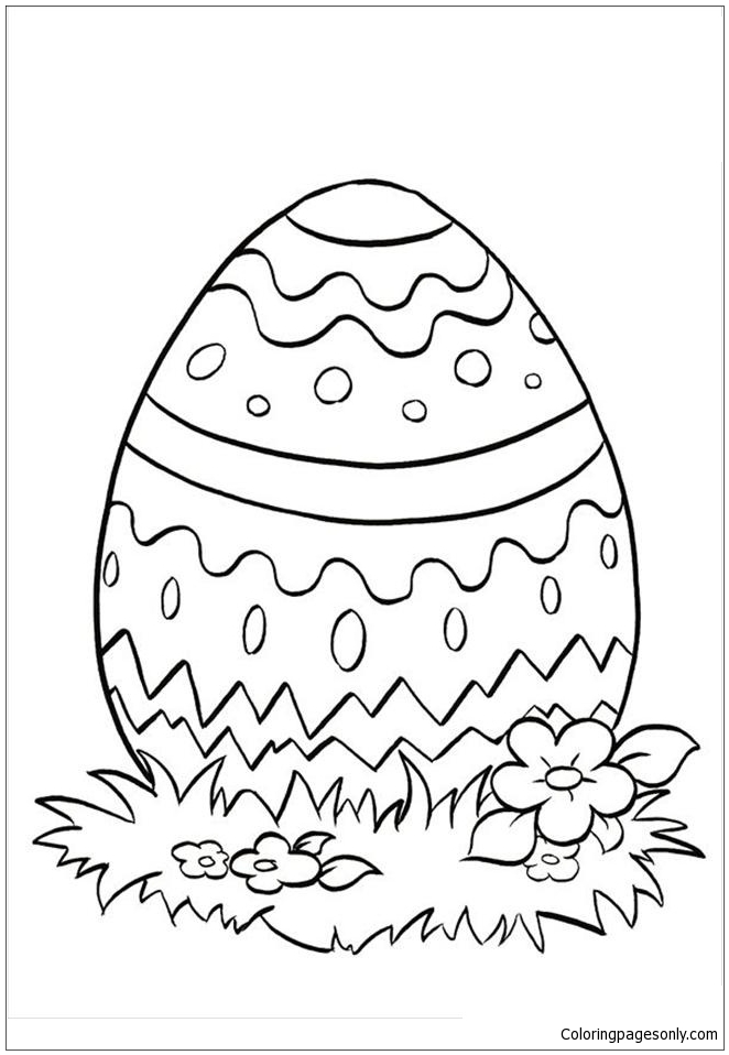 Religious Themed Easter Egg Coloring Page Free Coloring