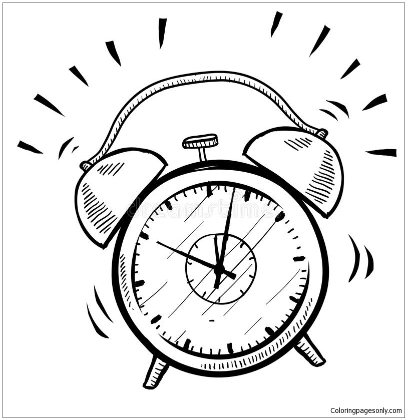 Retro Alarm Clock Coloring Page