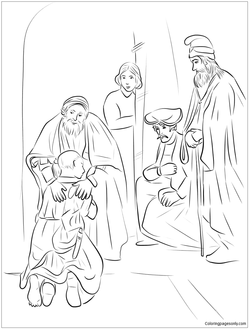 Return of the Prodigal Son by Rembrandt Coloring Page - Free ...