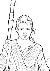 Rey - The Force Awakens Coloring Page