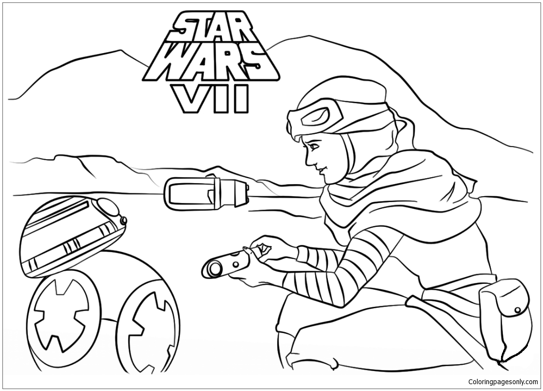 Rey and BB-8 Coloring Pages