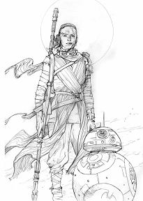Rey and BB8 Pencil Prelim Star Wars Art