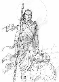 Rey and BB8 Pencil Prelim Star Wars Art
