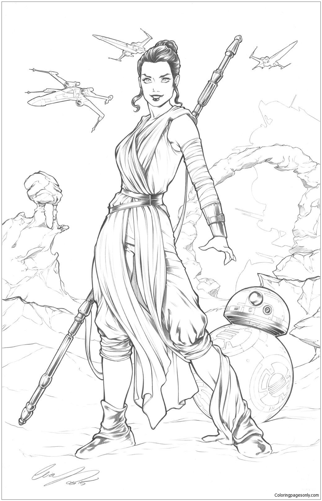 Rey Star Wars Coloring Page Free Coloring Pages Online