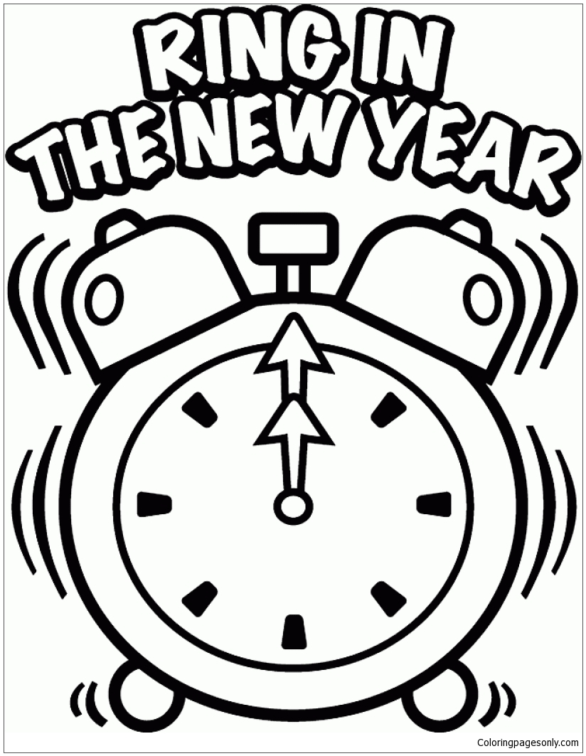 Ring In The New Year Coloring Page