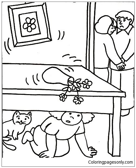 Risks From Natural Disasters Coloring Page