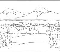 Mountain River Coloring Page