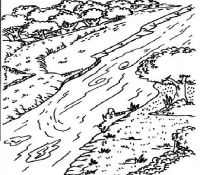 River And Mountain Natural Scenery Coloring Page