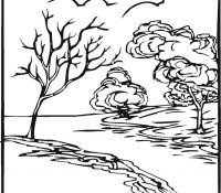 River Mountain Nature Scene Coloring Page