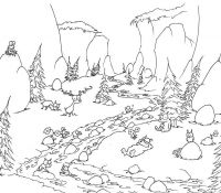 Mountain And River Coloring Page
