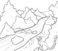 Mountain River and Squirrel Scenery Coloring Page