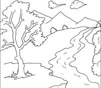 Rivers Mountain Coloring Page