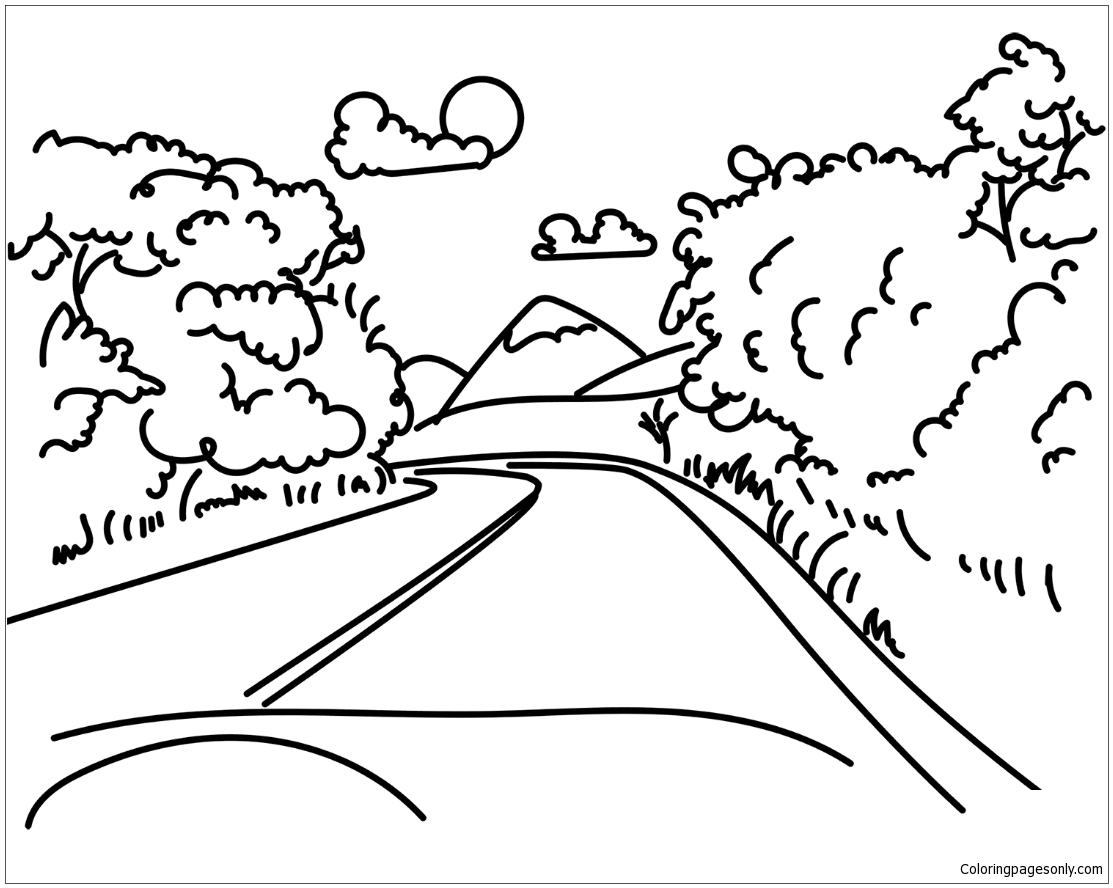 Road in Mountain Coloring Pages