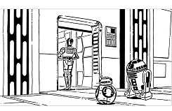 Robots star wars r2d2 c3po bb8 Coloring Page
