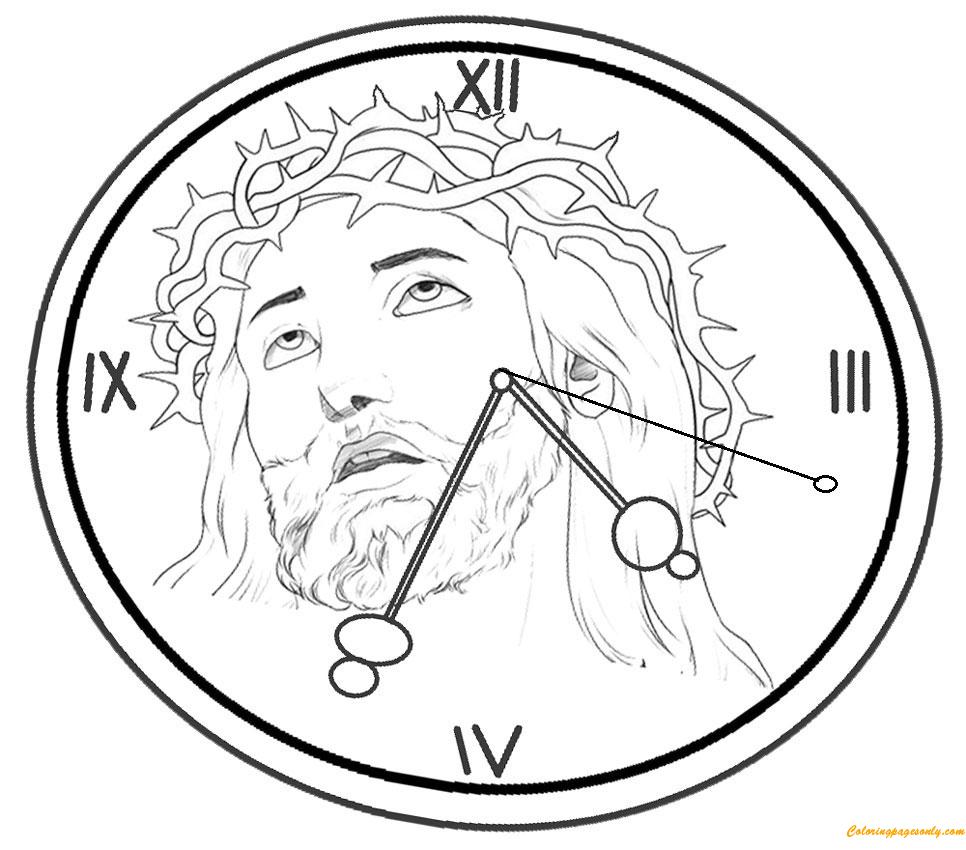 Roman Clock Coloring Page