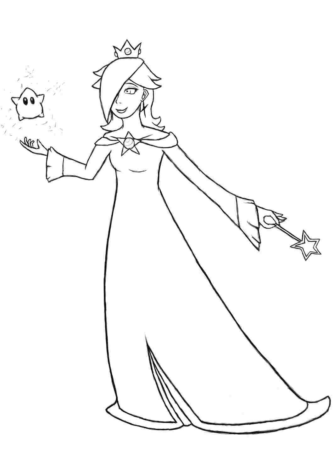 Rosalina and star in Super Mario Bros Coloring Page