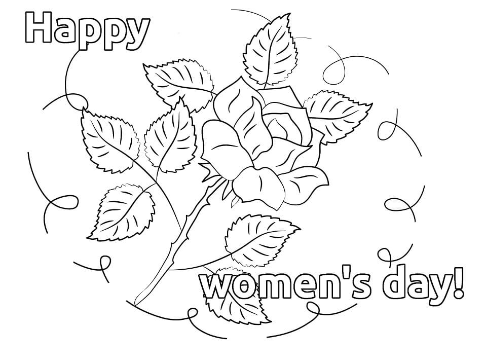 Rose for Womens Day Coloring Page