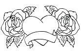 Roses Flowers Hearts Coloring Page