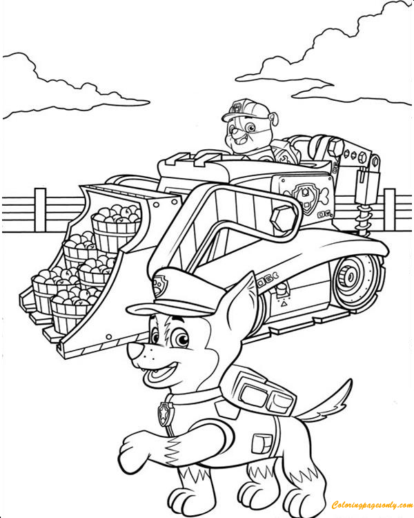 Rubble On His Construction Truck And Chase  Coloring Page