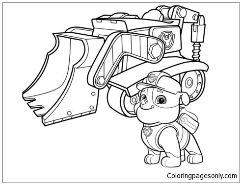 Rubble Paw Patrol 2 Coloring Page