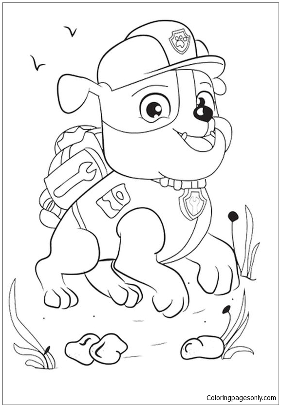 Rubble Paw Patrol Disney Coloring Page Free Coloring