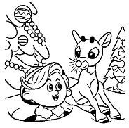 Rudolph and Hermey the misfit Elf Coloring Page