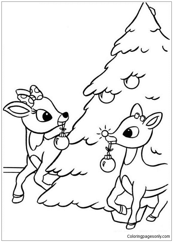 Rudolph The Red Nosed Reindeer Coloring Page - Free ...