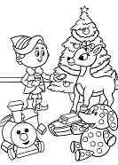 Rudolph With Children In Christmas Day Coloring Page