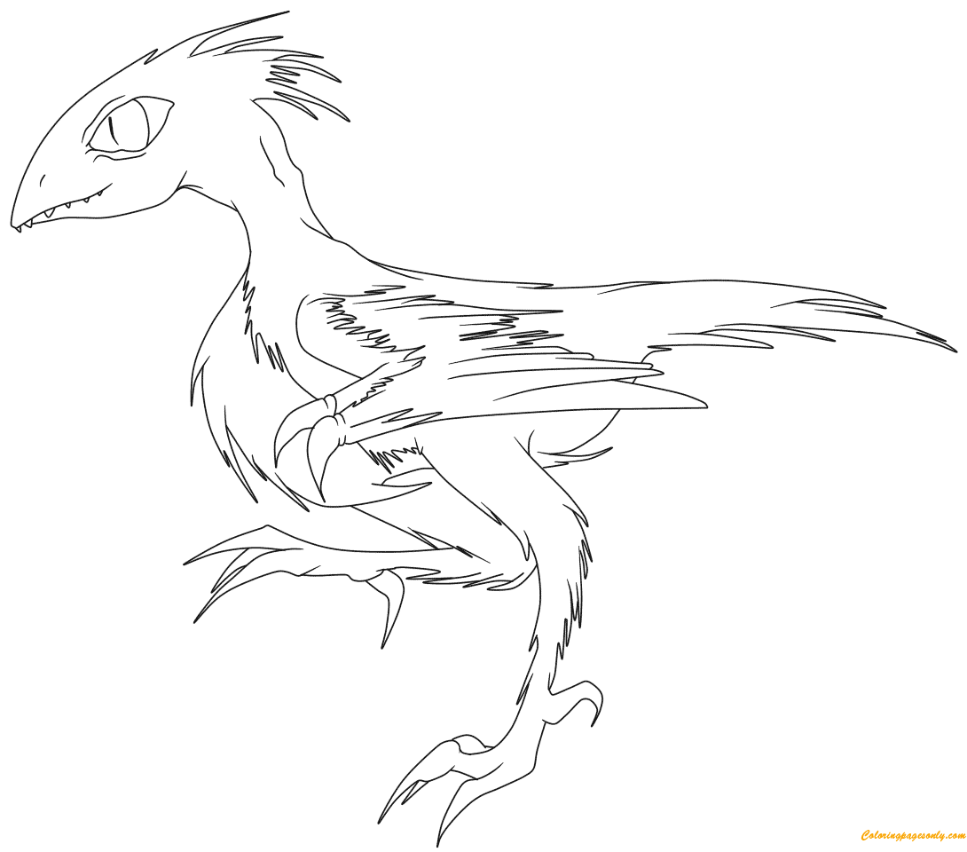 Running Archaeopteryx From Dinosaurs Coloring Page