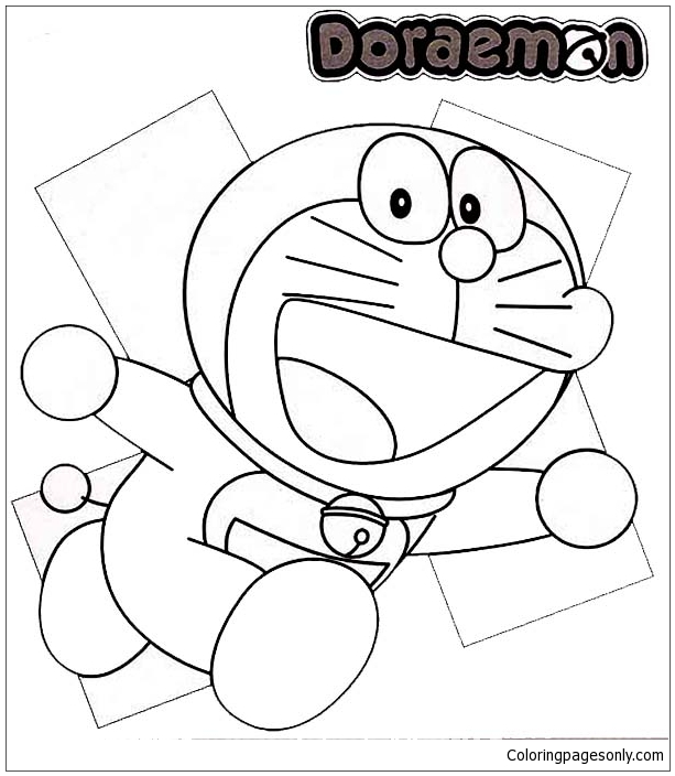 Running Doraemon Coloring Page