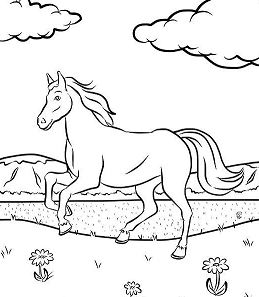 Running Horse 2 Coloring Page