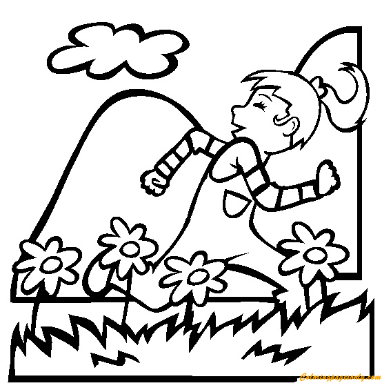 Running In The Spring Coloring Page