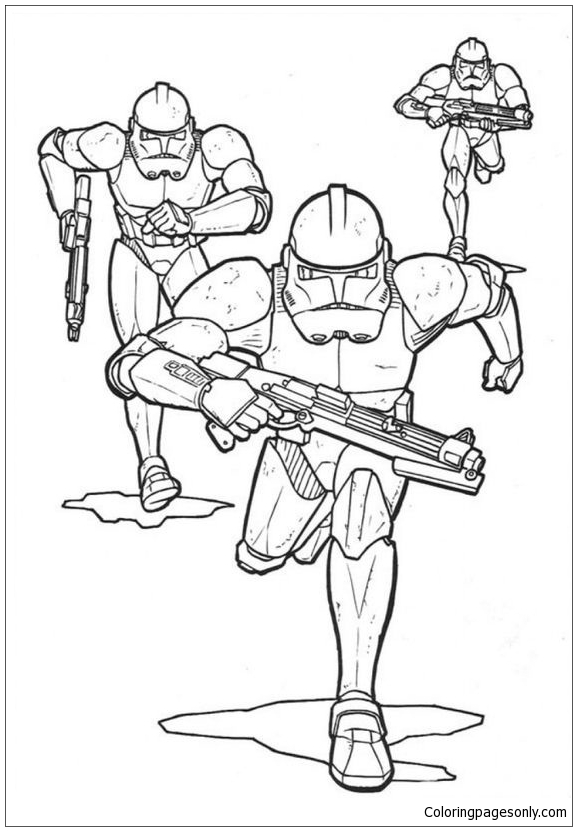 Running Storm Troopers Coloring Page