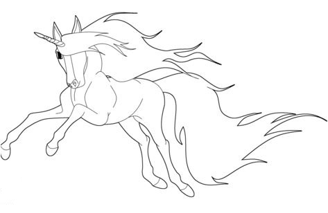 Running Unicorn Coloring Page