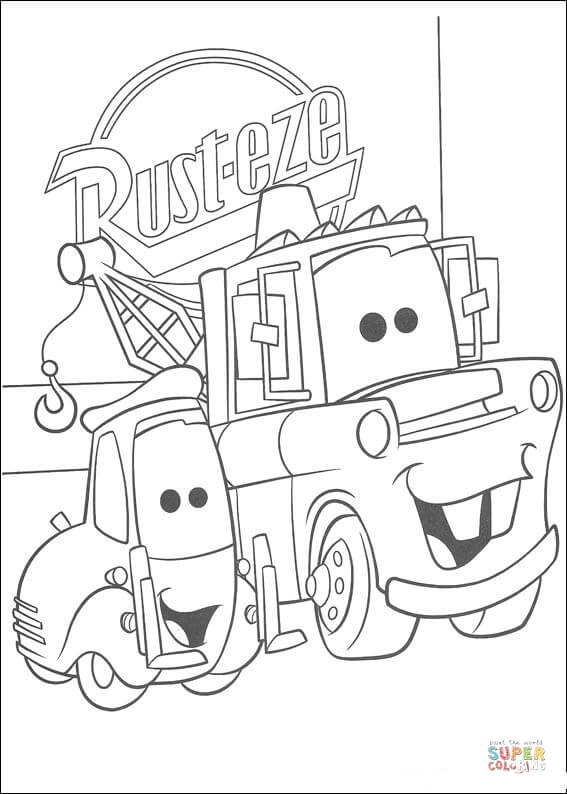 Rust-Eze Logo Behind Mater  From Disney Cars Coloring Page