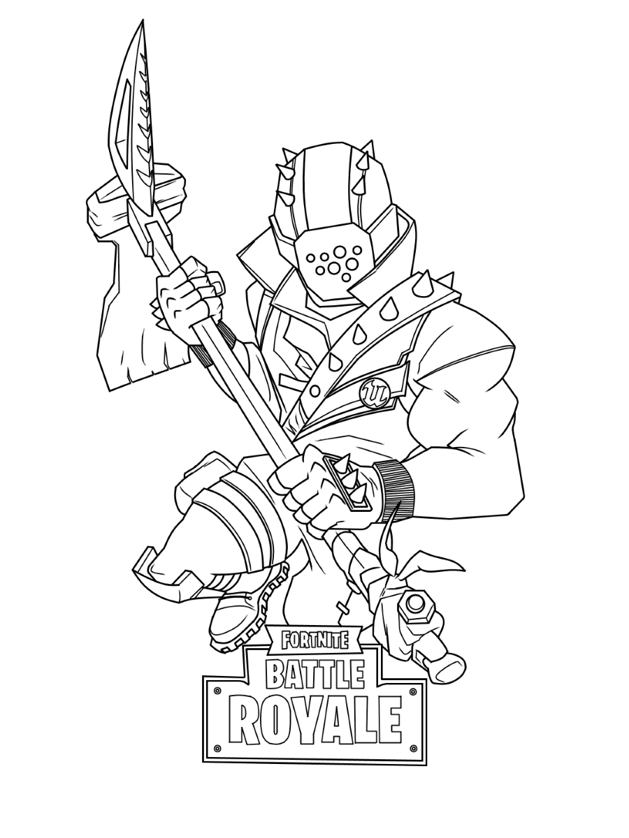 Rust Lord wears a pin on his shirt with the Unreal Engine logo on it in Fortnite Coloring Page
