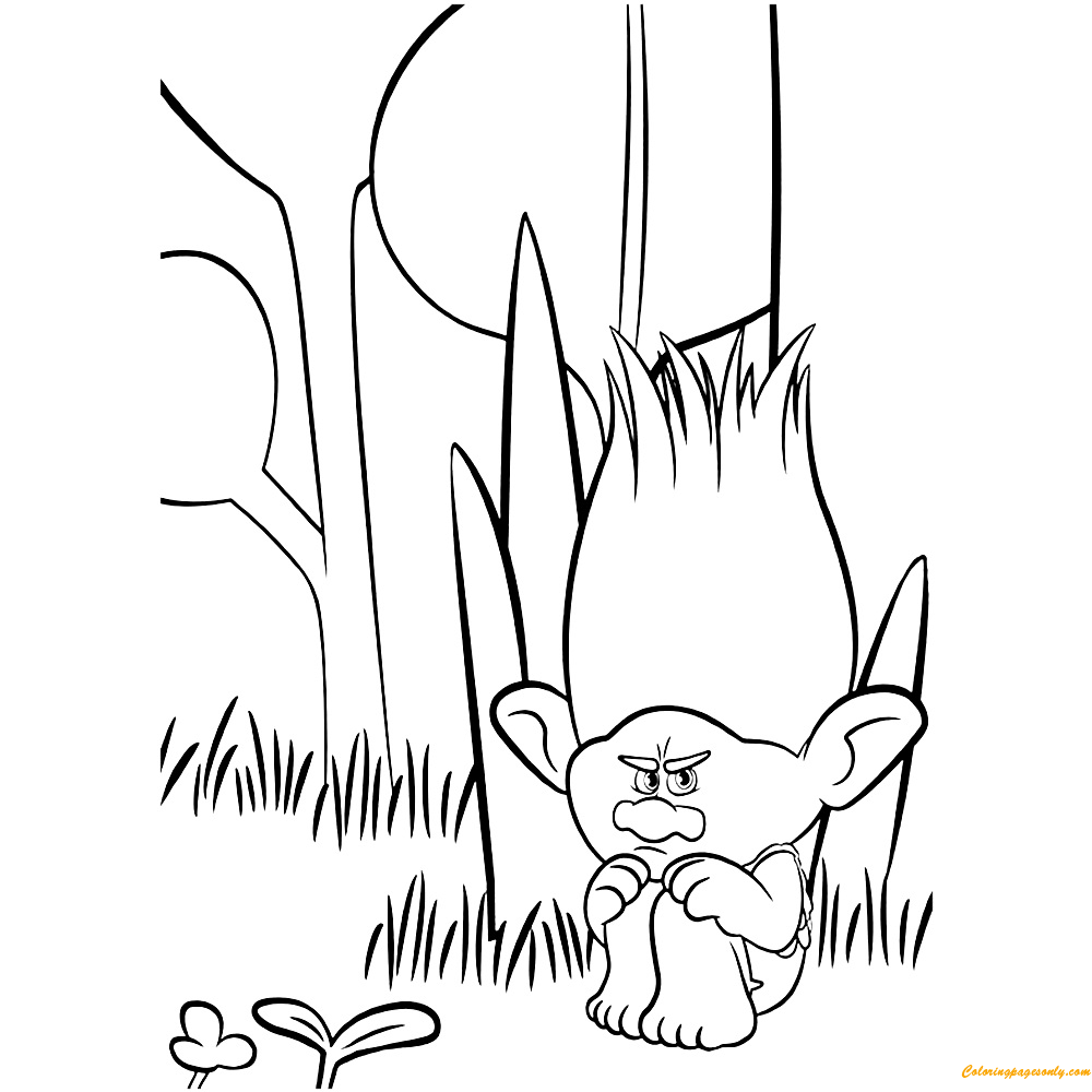Free coloring pages of trolls - Sad Branch Trolls Coloring Page
