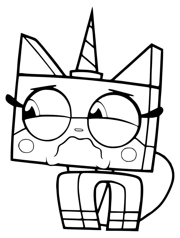 Sad Unikitty Cat Lego Coloring Page