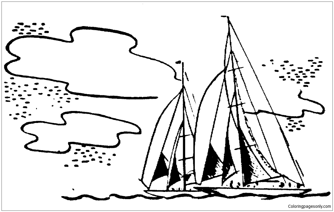 Sailing Ship at Sunset coloring page | Free Printable Coloring Pages | 707x1113