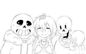 Sans, Frisk and Chara Coloring Page