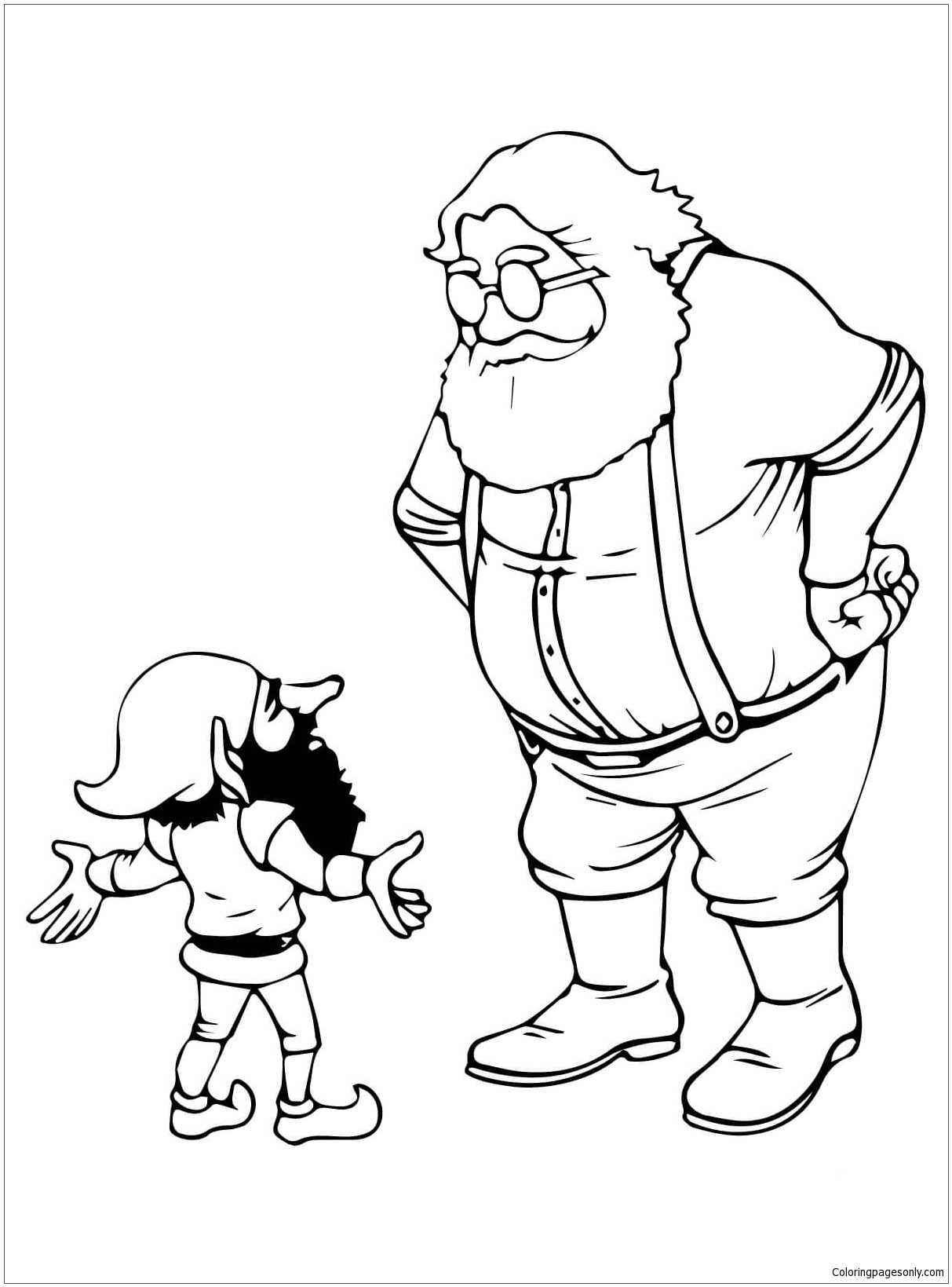 santa and christmas elf talking coloring page free