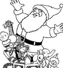 Santa And Lots Of Dolls Christmas Coloring Page