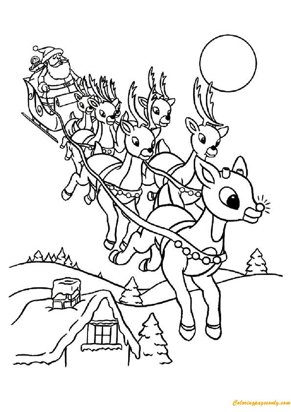 Santa And Reindeer Christmas Coloring Page