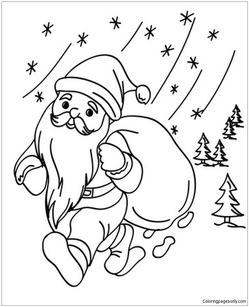 christmas santa coloring pages - santa christmas 1 coloring page free coloring pages online