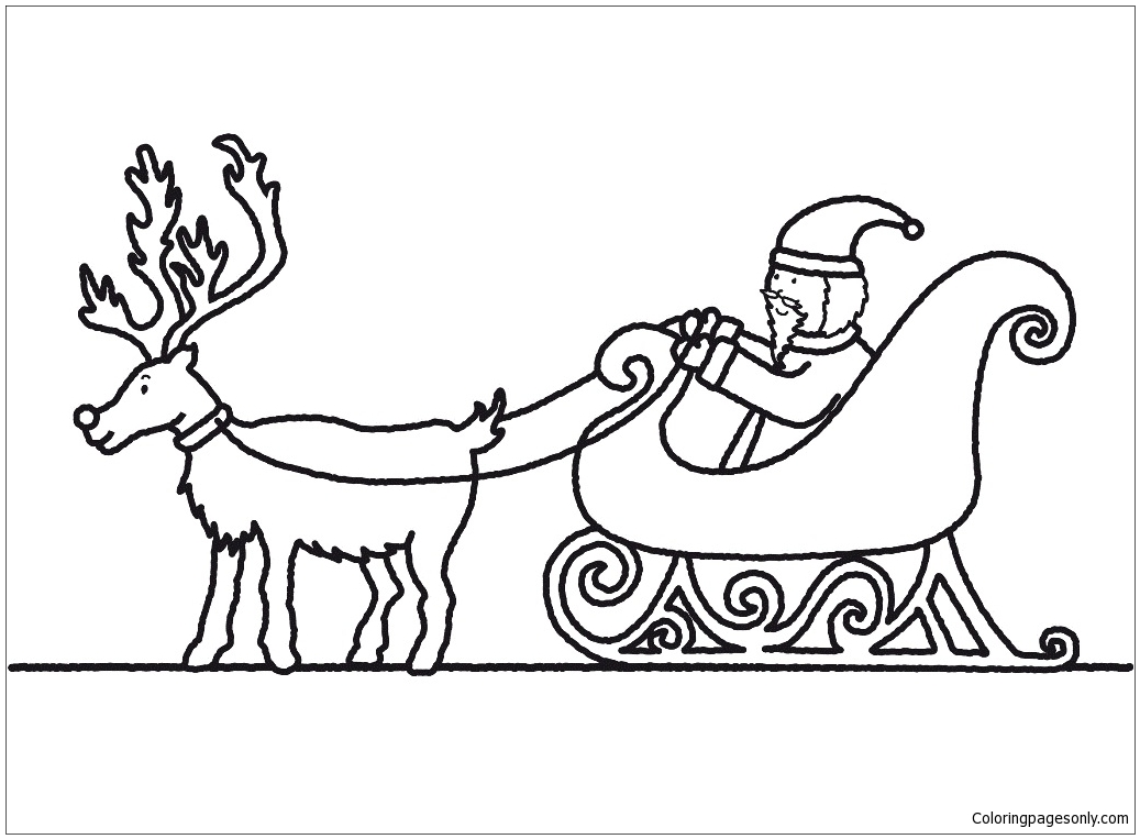 Santa Claus And Sleigh Coloring Page - Free Coloring Pages ...