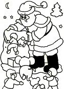 Santa Claus Asks The Christmas Gifts Jumping Into The Bag