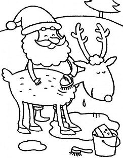Santa Claus Cleans His Deer Body Before