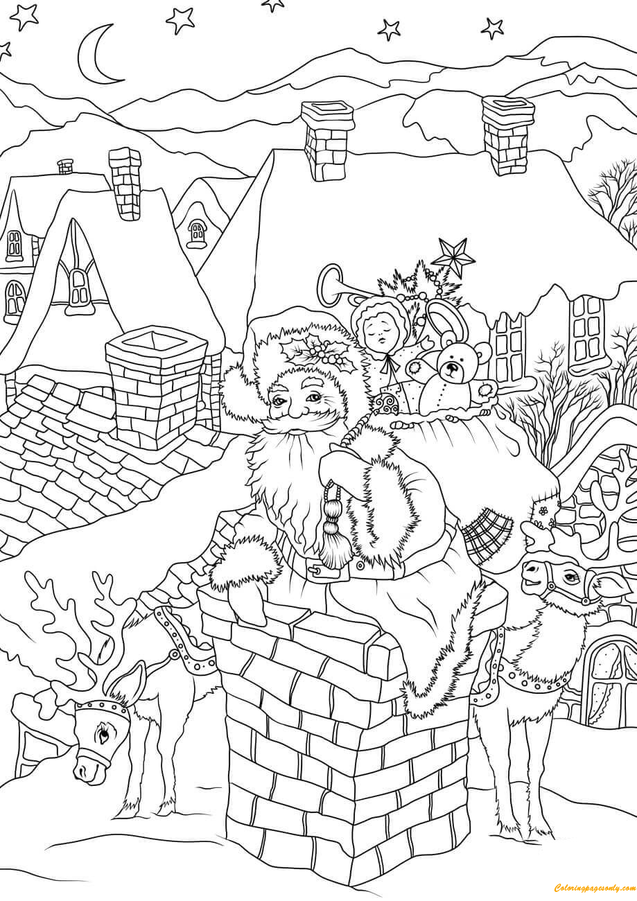 Santa Claus Come Down the Chimney with Presents Coloring ...