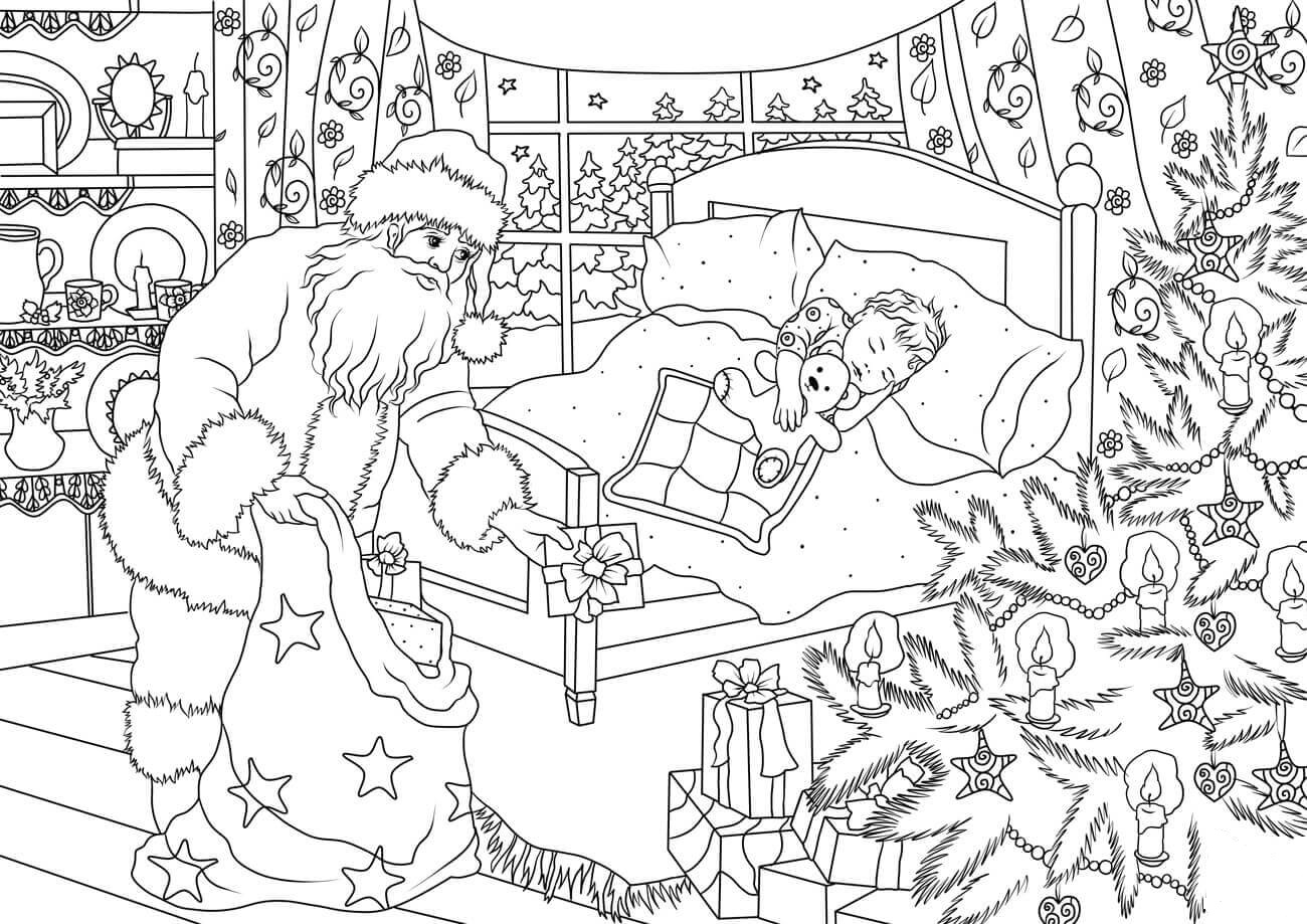 Santa Claus Delivering Presents for a Little Boy Coloring Page
